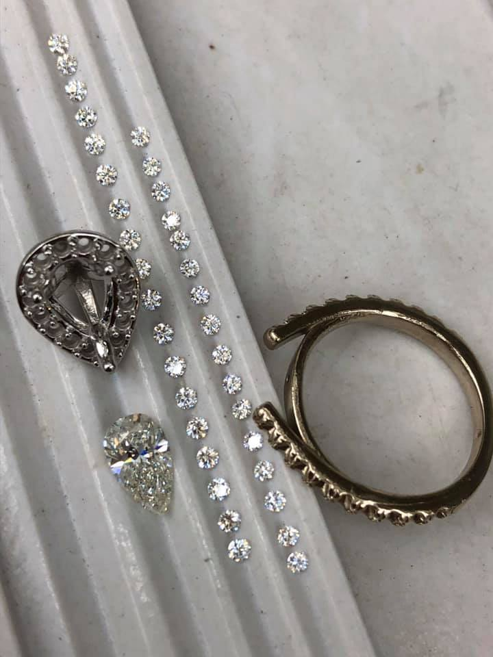 Custom design pear shape diamond engagement ring parts