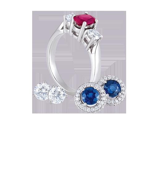 Ruby sapphire diamond white gold ring