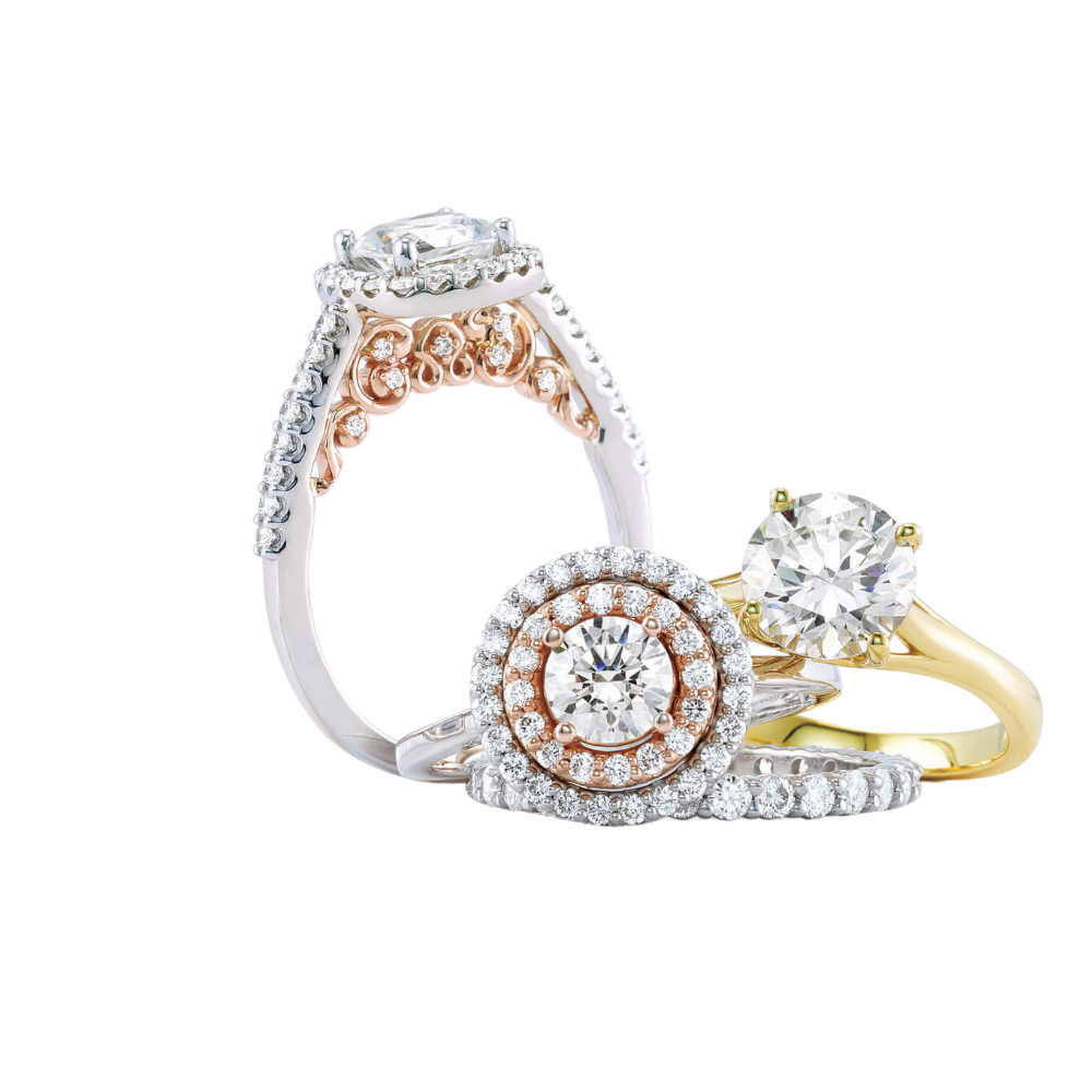 Yellow Gold rose gold yellow gold halo diamond engagement rings